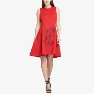 DKNY Womens Embellished Sleeveless Scuba Dress